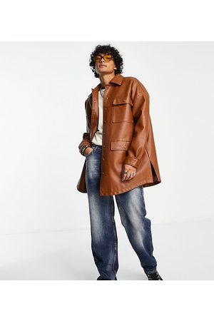 Reclaimed Inspired unisex longline leather look shacket in chocolate