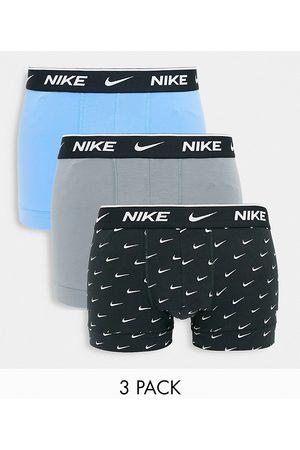 Nike Men Briefs - 3 pack cotton stretch trunks in blue/grey/black-Multi