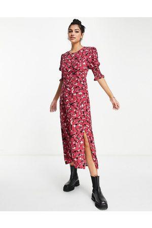 Nobody's Child Luna heart print puff sleeve midi dress in