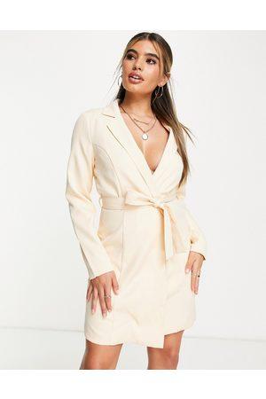 Missguided Wrap blazer mini dress in cream