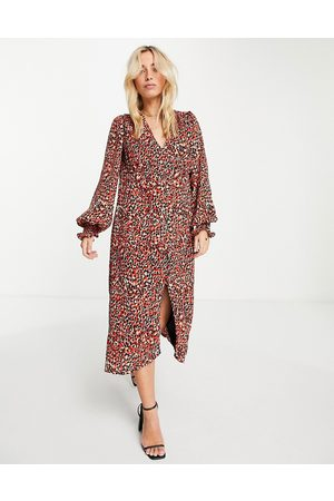 In The Style X Olivia Bowen v neck button through midi dress in red animal print-Multi