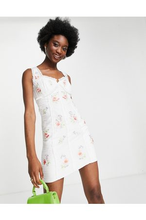 ASOS Ruched chiffon mini dress with pop floral embroidery