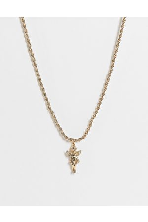 ASOS Necklace with cupid pendant and rope chain in tone