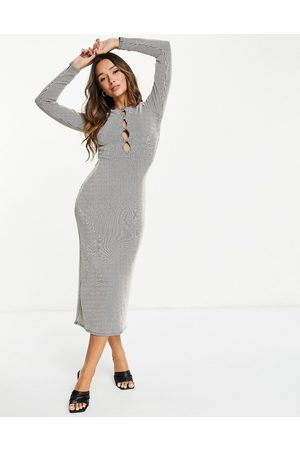 ASOS Long sleeve midi dress with cut out detail in two tone camel rib-Neutral