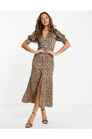 Never Fully Dressed Lindos button maxi dress in leopard print