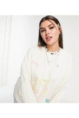 Native Youth Oversized cocoon sweatshirt with positive doodles print