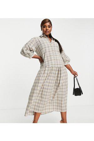 ASOS ASOS DESIGN Curve button though shirt midi smock dress in brown white check-Multi
