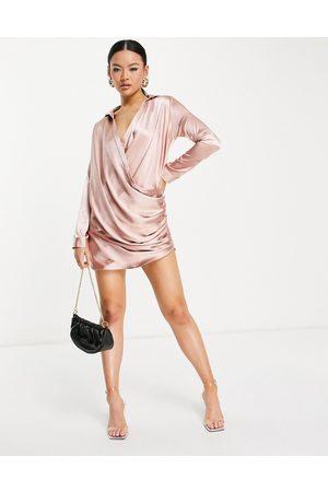 John Zack Wrap shirt mini dress in blush