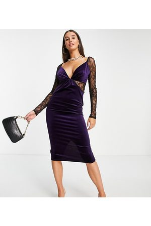 ASOS ASOS DESIGN Tall lace sleeve velvet bodycon midi dress in