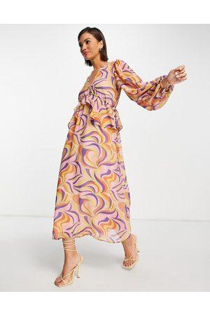 Never Fully Dressed Frill midi dress in retro swirl print