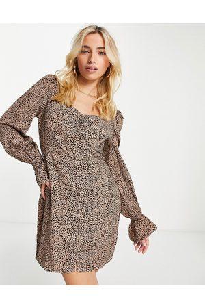 In The Style X Olivia Bowen milkmaid mini dress in brown leopard print-Multi