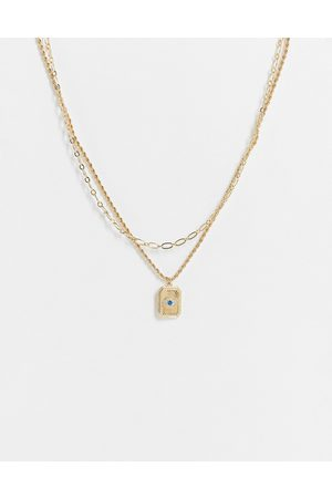 Liars & Lovers Crystal eye square coin pendant multirow necklace in