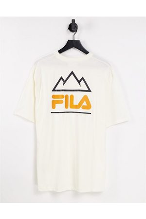 Fila T-shirt with back print in ecru-Neutral