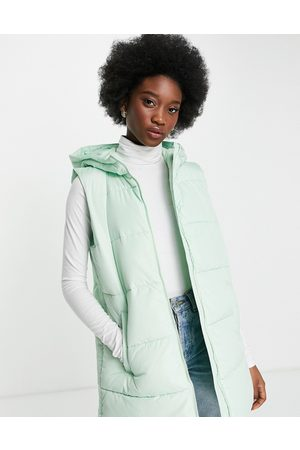 Pieces Recycled polyester padded gilet with hood in pastel