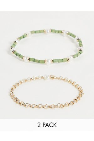 Liars & Lovers Bead and pearl 2 x anklets multipack in and green