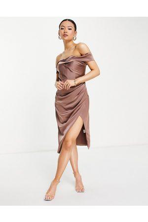 Jarlo Royalty midi dress with side split and bardot shoulder in mink