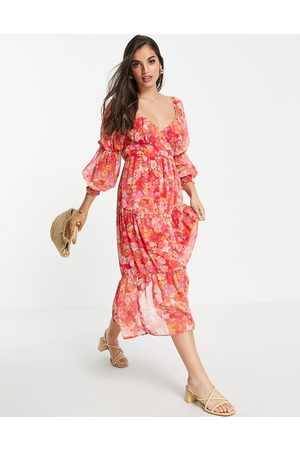 Miss Selfridge Tie front chiffon midaxi dress in hand painted floral