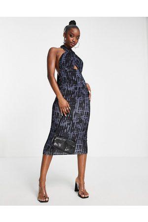 ASOS Halter cross front midi dress in denim tie dye-Multi