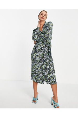 River Island Floral wrap midi dress in