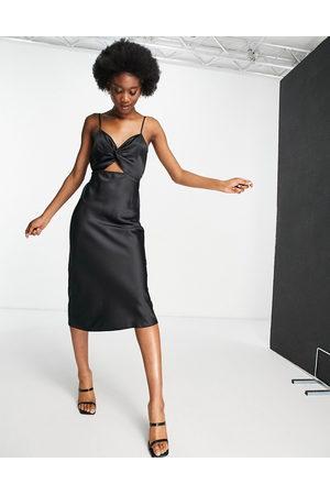 Miss Selfridge Cut out satin slip dress in