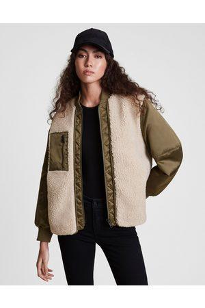 AllSaints Suri bomber jacket in khaki and ivory-Multi