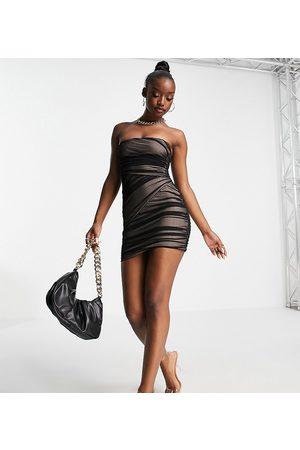 AsYou Mesh bandeau mini dress in black