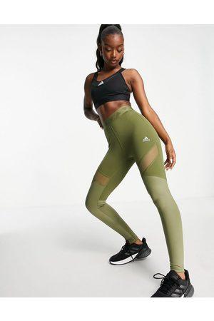 adidas performance Adidas Training leggings with insert detail in khaki