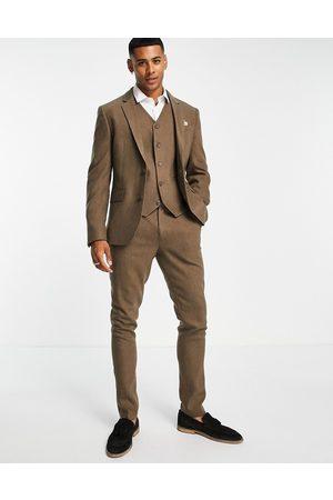 ASOS Men Formal Pants - Wedding skinny wool mix suit trousers in camel herringbone-Neutral
