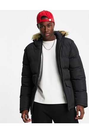 French Connection Men Parkas - Padded parka jacket with faux fur hood in