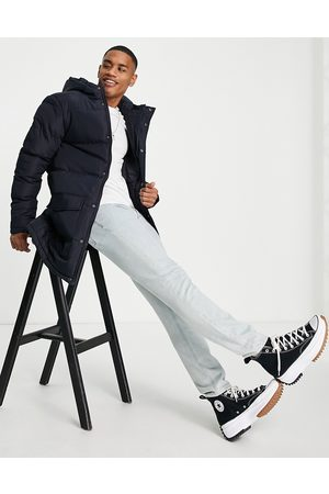 French Connection Longline padded parka with hood in navy