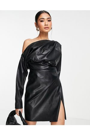 ASOS Women Evening Dresses - PU off shoulder mini dress with tuck detail bodice in