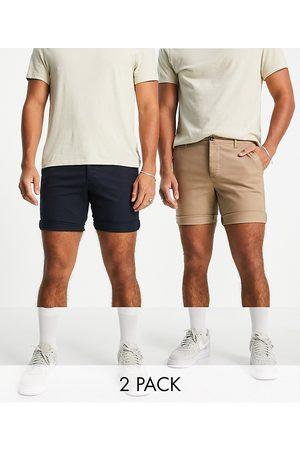 ASOS 2 pack slim chino shorts in stone & navy save-Multi