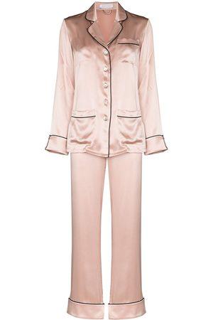 Olivia von Halle Women Lingerie Sets - Contrast trim silk pajama set