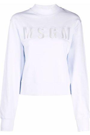 Msgm Women Sweatshirts - Tulle-panel logo sweatshirt