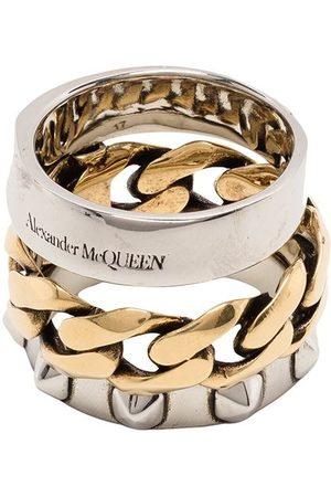 Alexander McQueen Women Rings - Triple band Punk ring