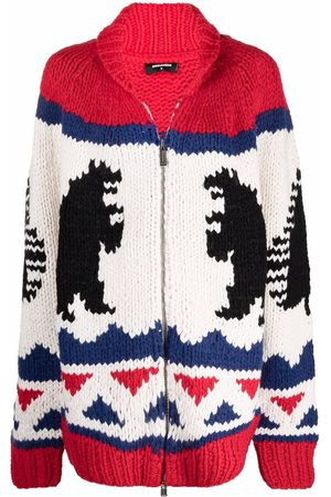 Dsquared2 Women Hoodies - Knitted intarsia zip-up jacket