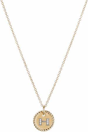 David Yurman 18kt yellow Initial H diamond charm necklace