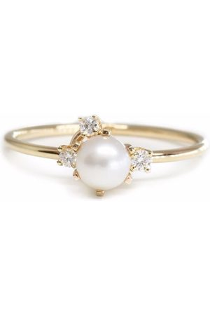POPPY FINCH 14kt yellow Cluster pearl and diamond ring