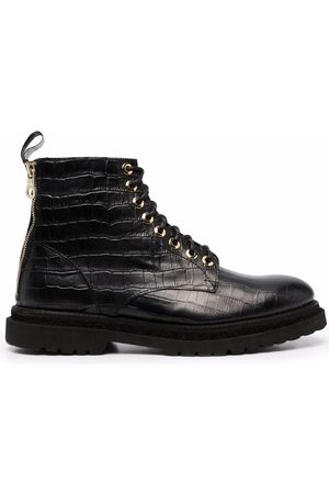 Giuliano Galiano Crocodile effect lace-up boots