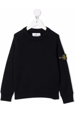 Stone Island Boys Jumpers - Logo-patch crew-neck jumper