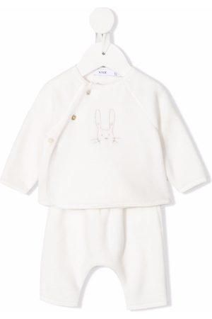 KNOT Boys Tracksuits - Pearl rabbit-embroidered newborn set