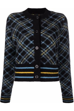 Pinko Check-pattern cropped knitted cardigan