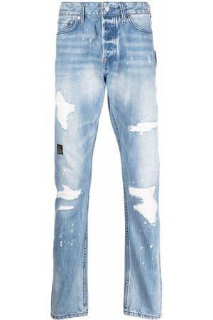 Evisu Distressed-finish straight-leg jeans