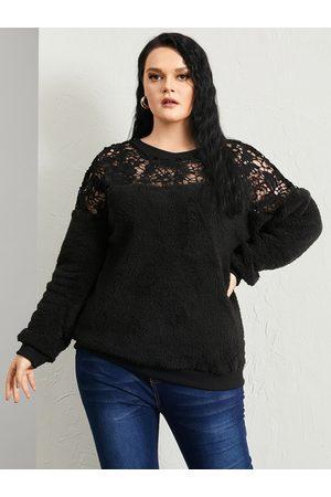 YOINS Plus Size Lace Patchwork Design Long Sleeves Sweatshirt