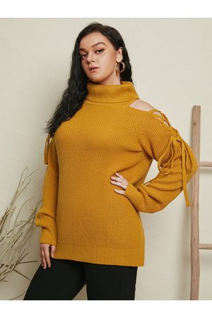 YOINS Plus Size Lace-Up Design Long Sleeves Sweater