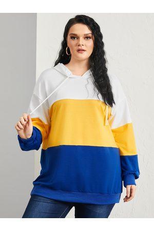 YOINS Women Long Sleeve - Plus Size Color Block Hooded Design Patchwork Design Long Sleeves Sweatshirt