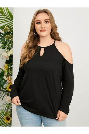 YOINS Plus Size Cold Shoulder Cut Out Long Sleeves Tee