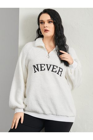 YOINS Plus Size Lapel Collar Letter Zip Front Long Sleeves Sweatshirt