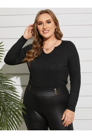 YOINS Plus Size V-neck Ribbed Knit Long Sleeves Tee
