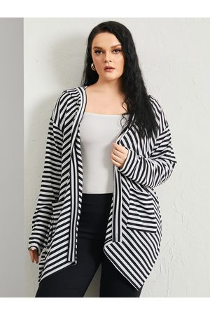 YOINS Plus Size Striped Hooded Design Pocket Long Sleeves Cardigan
